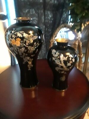 Set of 2 Asian Ornate Mother of Pearl Black Lacquer Brass Metal Vases 1960's