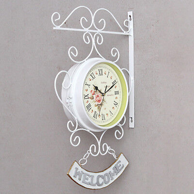 Vintage Style Outdoor Garden Station Wall Clock Outside Bracket Double Sided New