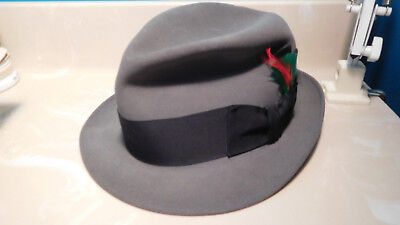 Dobbs vintage gray fedora hat with side feather and black band 7 1/8