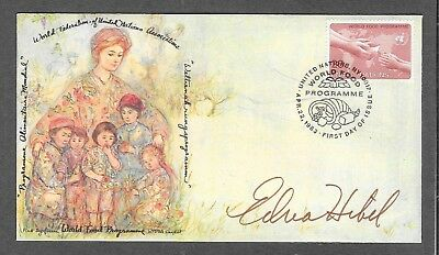 Artist Edna Hibel in person signed U.N. FD cover with the WFUNA cachet-Pristine