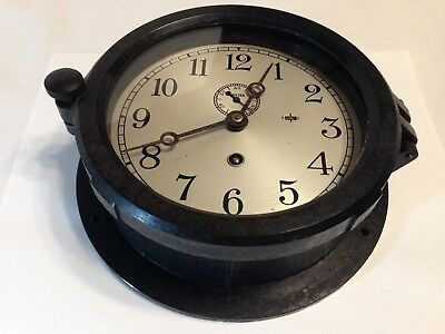 Vintage WWII ERA Chelsea Clock Company 6 Inch Face Jeweled Ships Clock Working!