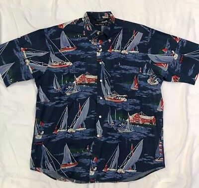 55dddee4685 Vtg Nautica Navy Sailing Colored Flags Compass Button Down Shirt Mens Large