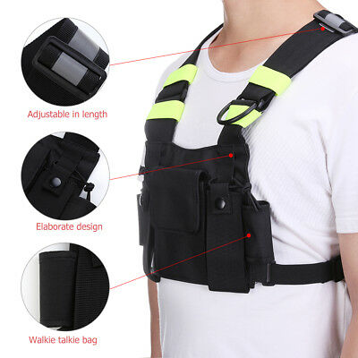 Nylon Holster 2-Way Radio Pouch Chest Pack Walkie Talkie Bag For Baofeng UV-5R