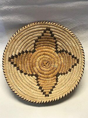 used native American papago star pattern woven basket