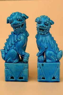"PAIR Vintage Chinese DOGS OF FO Temple Lions Foo dogs  TURQUOISE GLAZE  8"" vgc"