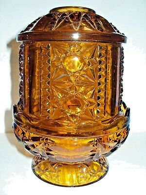 Vintage Amber Indiana Glass Fairy Lamp Candle Holder Footed Stars & Bars Brown