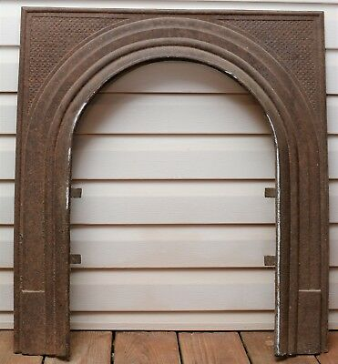Antique Cast Iron Fireplace Surround Arch Ornate Insert Early 1900's