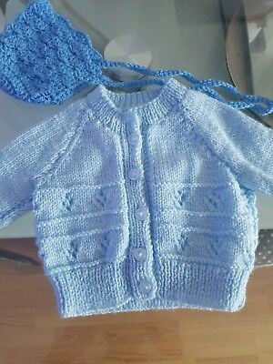 Baby Boy New Born Knitted Cardigan & Hat