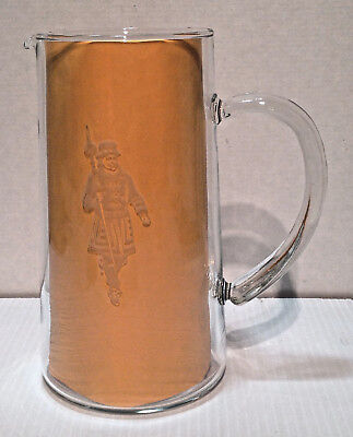 """Vintage Beefeater Gin 8"""" Glass Pitcher w/ Frosted Glass Yeomen Warder Guard Logo"""