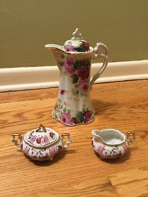 Antique 3 Piece Hand Painted Porcelain Chocolate Cocoa Coffee Tea Set STUNNING
