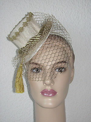 Minizylinder , Fascinator in creme und gold