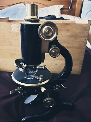 SUPERB ANTIQUE OTTO SEIBERT BRASS MICROSCOPE w. its lens and its in wooden box