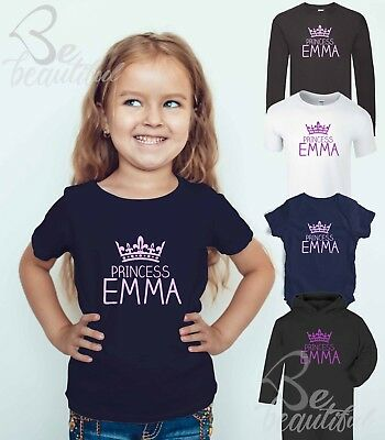 PRINCESS ANY NAME PERSONALISED T SHIRT TEE BROTHER SISTER Tee Top Babysuit