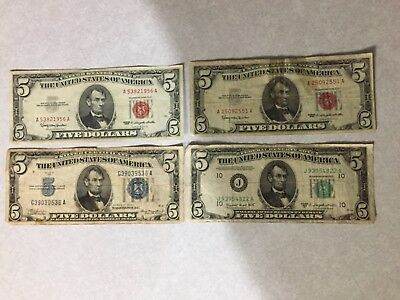 Old Five Dollar Bills,2- 1963, 1- 1934A, and 1 - 1950C . $20.00 Face Value!