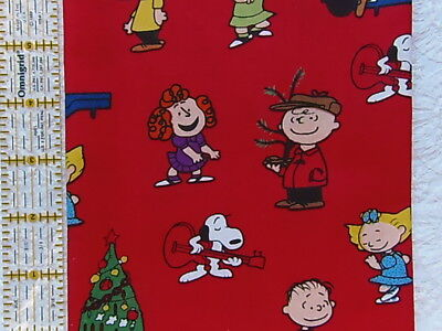 NEW & HTF Peanuts Snoopy Holiday CHARLIE BROWN CHRISTMAS DANCE PARTY *Cotton FQ*