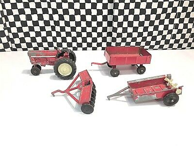 4 Vintage Ertl Farm Vehicles - Tractor / Plow / 2 Wagons - Diecasts Loose
