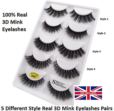 5Pairs 3D Natural False Eyelashes Long Thick Wispy Fake Lashes Makeup Mink UK