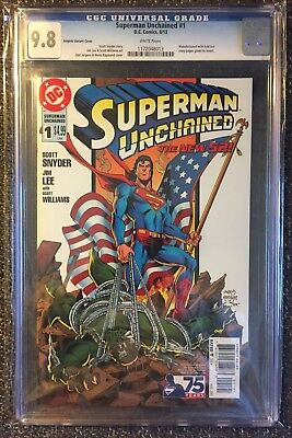 Superman Unchained #1 CGC 9.8 NM+/M! rare Jurgens var. flag cover!  Price drop!