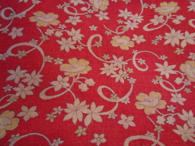 Vintage FLORAL FEEDSACK pillow cover or QUILT FABRIC ~ RED YELLOW & WHITE floral