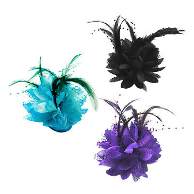 Women Hair Accessory Feather Flowers Hair Ties Brooch Corsage Embellishments