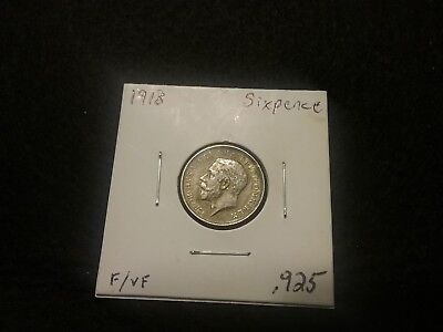 1918 Sixpence Sterling Silver Great Britain Coin