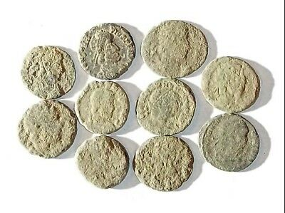 10 ANCIENT ROMAN COINS AE3 - Uncleaned and As Found! - Unique Lot 25941