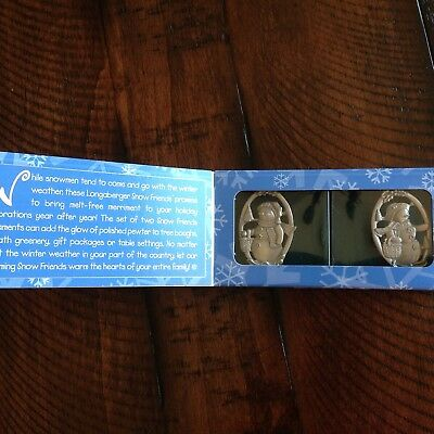 Longaberger Pewter Ornaments Snow Friends Set of 2 with original box