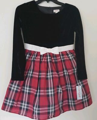 Girls Cat & Jack Plaid red black white dress size Small 6 Holiday Christmas NEW!