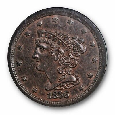 1856 1/2C Braided Hair Half Cent NGC AU 58 About Uncirculated Original Better...
