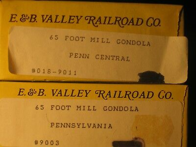 2 HO E&B Valley 65' Mill Gondolas unassembled PRR Pennsylvania & Penn Central PC