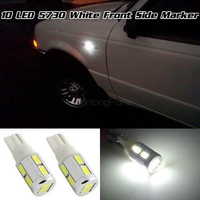 2 Pcs White 10-5730-Smd Car Led Signal Front Side Marker Light 2825 T10 194 168