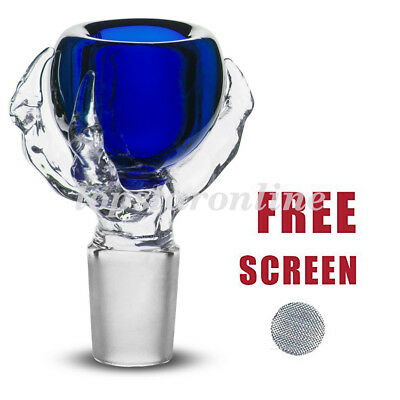 18mm Male Dragon Claw Glass Bowl With Free Screen USA Fast Free Shipping (Blue)