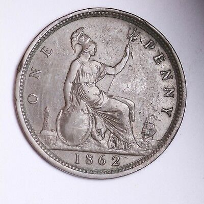 1862 Great Britain Penny Nice Grade Free Shipping A13