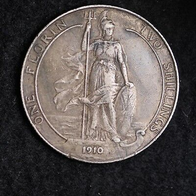 1910 Great Britain Silver Two Shillings Mid Grade Free Shipping A36