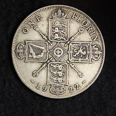 1922 Great Britain Silver One Florin Mid Grade Free Shipping A39