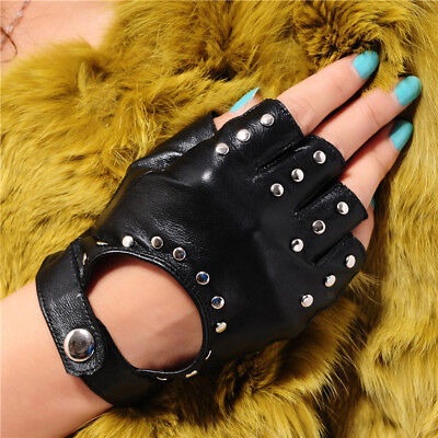 Punk Genuine Leather Fingerless Gloves Biker Driving Cycling Padded Gloves