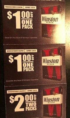 $4 WINSTON CIGARETTE COUPONS Expires: 1/31/19
