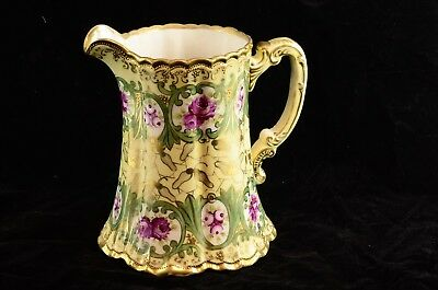 """Antique Large 8"""" Tall Nippon Pitcher Gold Flowers Moriage Morimura Hand Painted"""