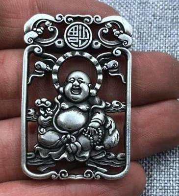 Statue Male Bodhisattva Pendant token Double sided hollowing China tibet Silver