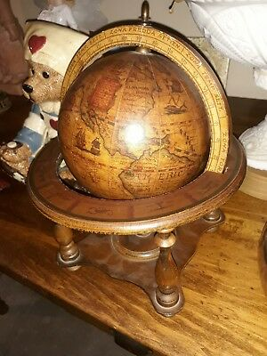 "Olde World Table Globe Wood Made In Italy 10"" X 8"""