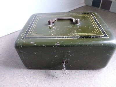 Antique Heavy Metal Cash Box with Key Secessionist Design to Lid