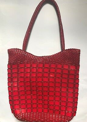 large retro vintage style dark red zip up shopping tote bag