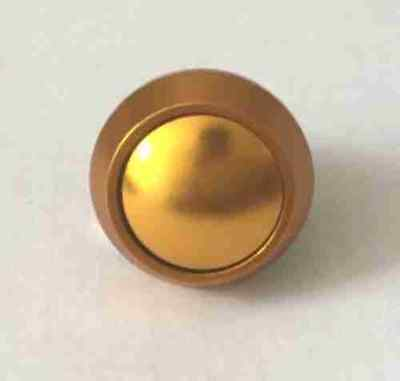 Pushbutton domed head switch golden coloured aluminium 12mm - UK Seller