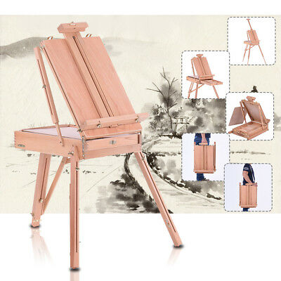 Folding Wooden Artist Art Easel Sketch Drawing Box Painting Tripod Stand O9W1