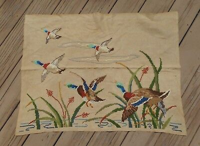"Vintage Large Hand Embroidered Needlepoint Mallards 1950's 36"" x 26"""