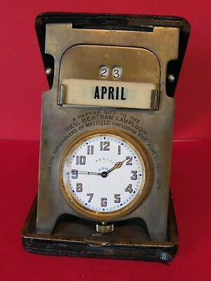 Antique Travel A & N C S L 8 Day Goliath Pocket Watch /  Calendar Travel Case