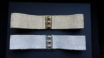 LOT of 2 cinch belts - gold and silver vintage style retro