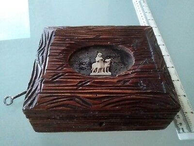 Antique hand carved antique Black Forest jewellery box with dog&girl photograph