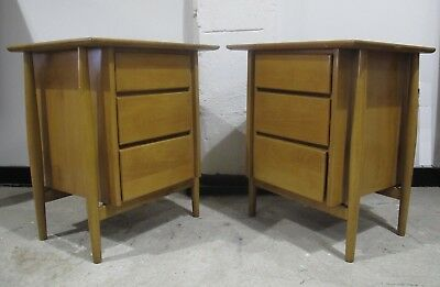 PAIR (2) 1950s MID CENTURY MAPLE THREE DRAWER NIGHTSTANDS bedside tables cabinet