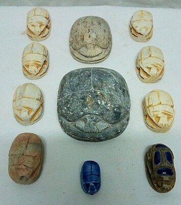 COLLECTION of ANCIENT EGYPTIAN ANTIQUE SCARAB Carved Stone 1581-1351 BC